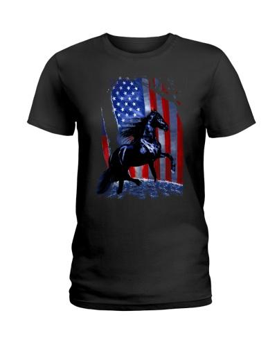 Horse Girl American Flag