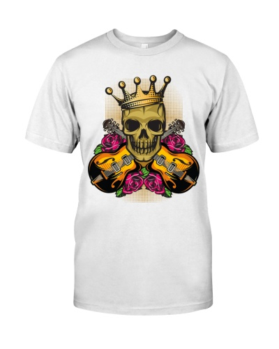 Color Skull And Rose Guitar