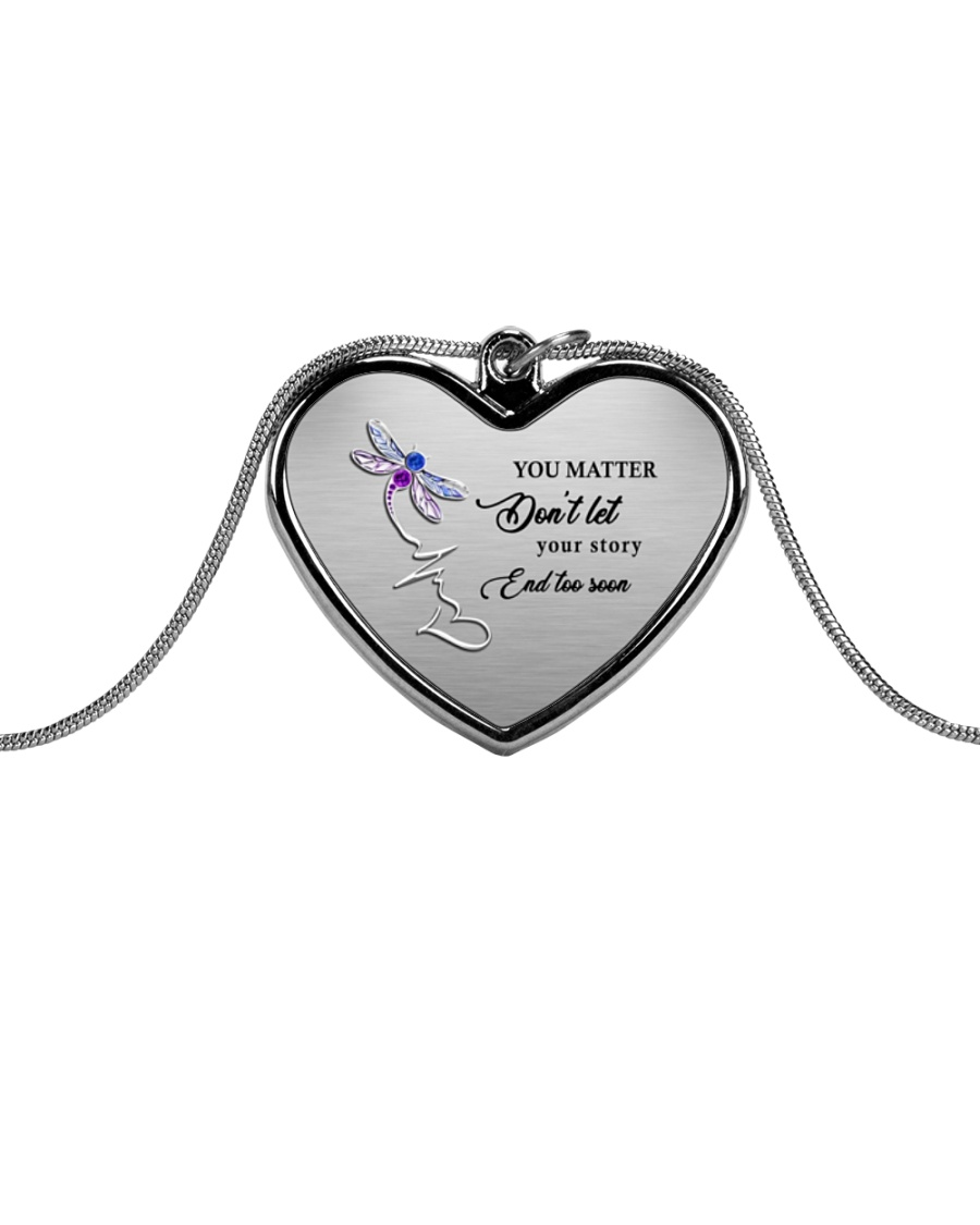 You Matter Suicide Prevention Metallic Heart Necklace