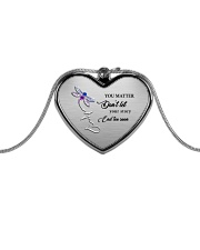 You Matter Suicide Prevention Metallic Heart Necklace front