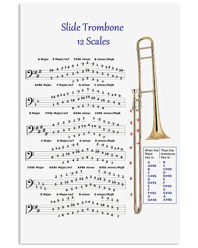 Trombonist slide trombone 12 scales poster