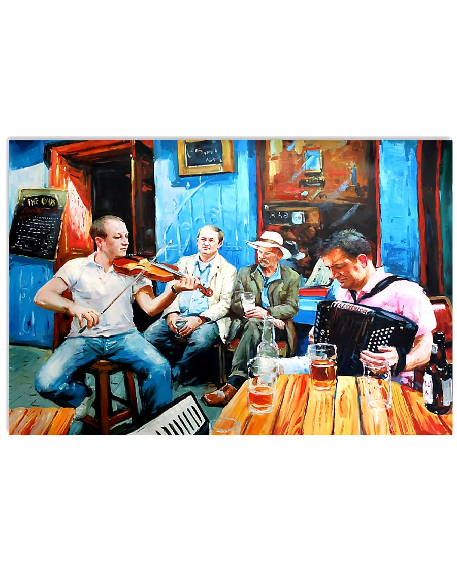 Accordionist Playing in a bar Poster 17x11 Poster