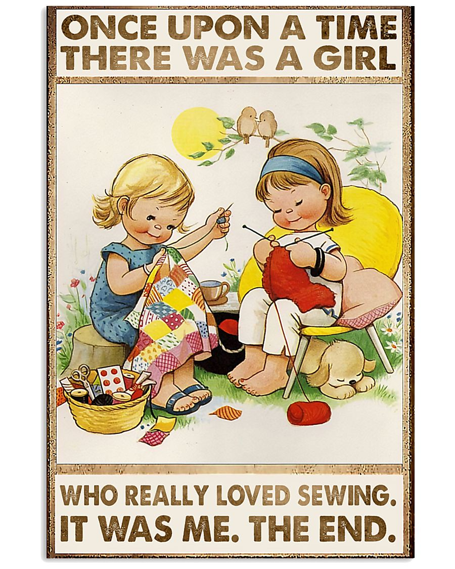 Sewing Two Cute Girls 11x17 Poster