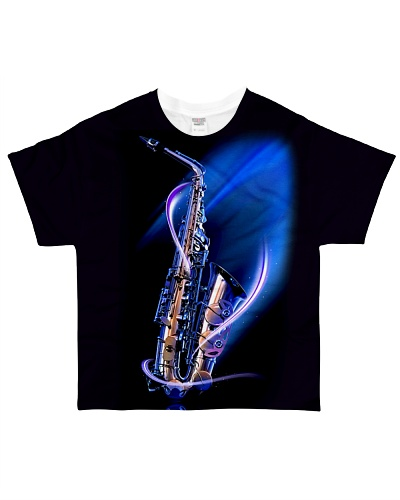 Saxophone with blue light