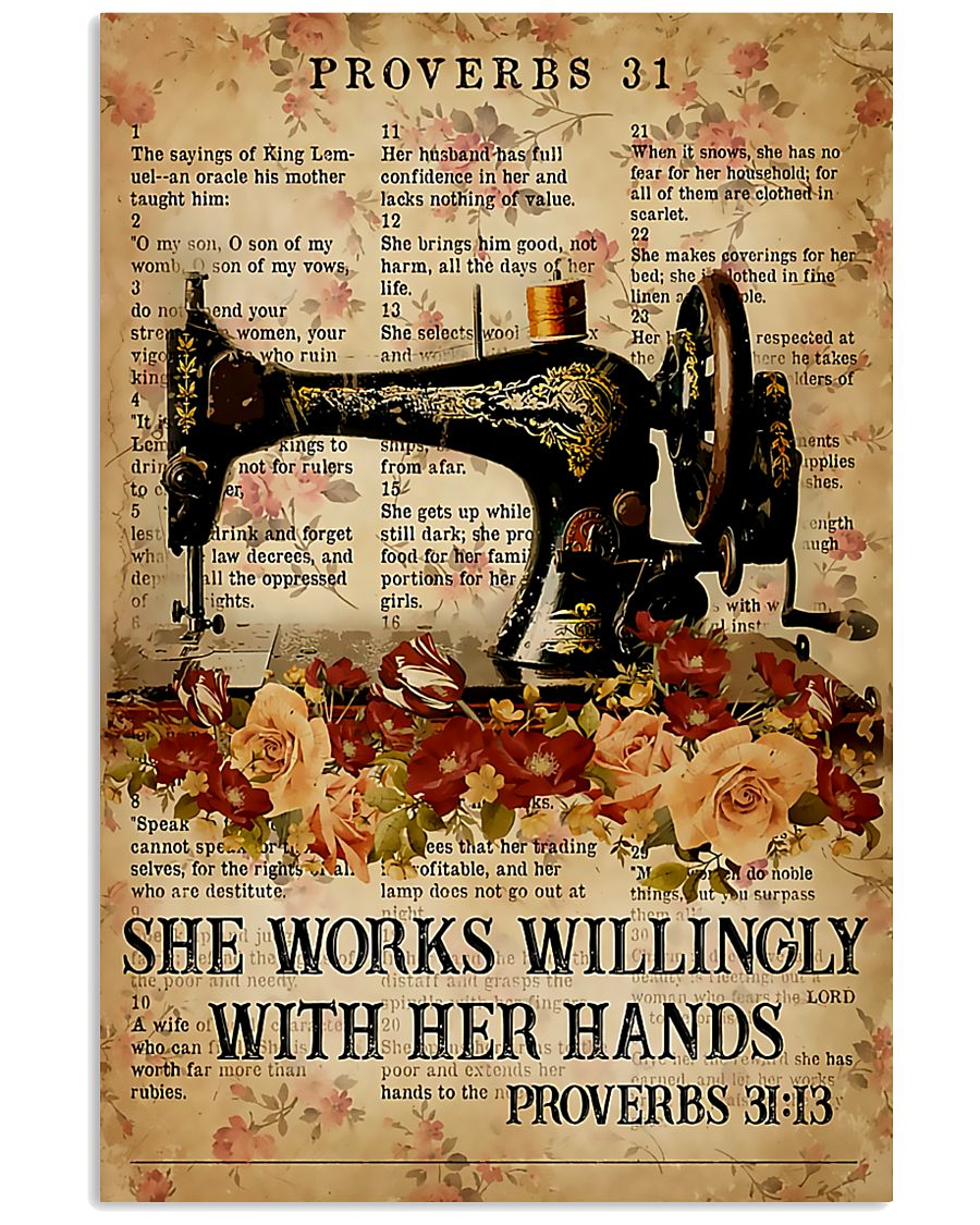 Sewing She Works Willingly With Her Hands 11x17 Poster