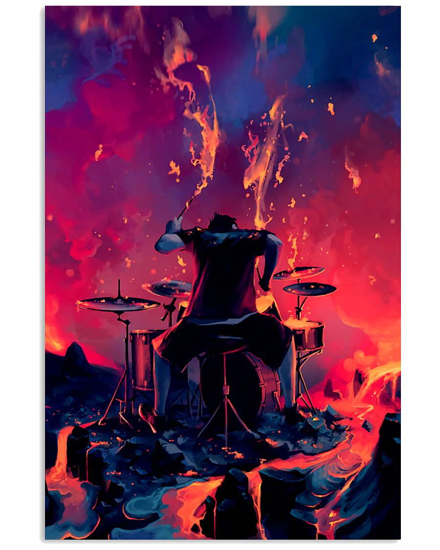 Drummer in fire 11x17 Poster