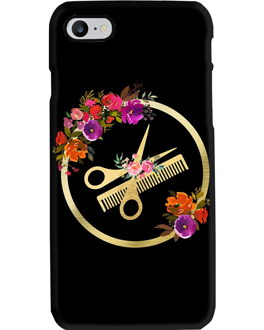 Floral Scissors Comb Hairdresser  Phone Case