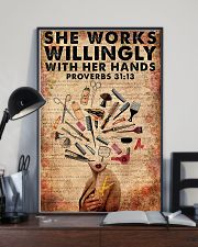She Works Willingly Hairdresser 11x17 Poster lifestyle-poster-2
