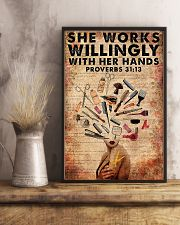 She Works Willingly Hairdresser 11x17 Poster lifestyle-poster-3