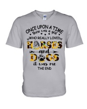 Horses And Dogs V-Neck T-Shirt thumbnail