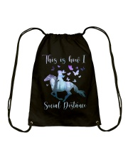 This Is How I Social Distance Drawstring Bag thumbnail