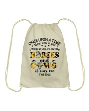 Horses And Cows Drawstring Bag thumbnail