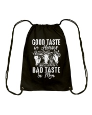 Good Taste In Horses  Drawstring Bag thumbnail