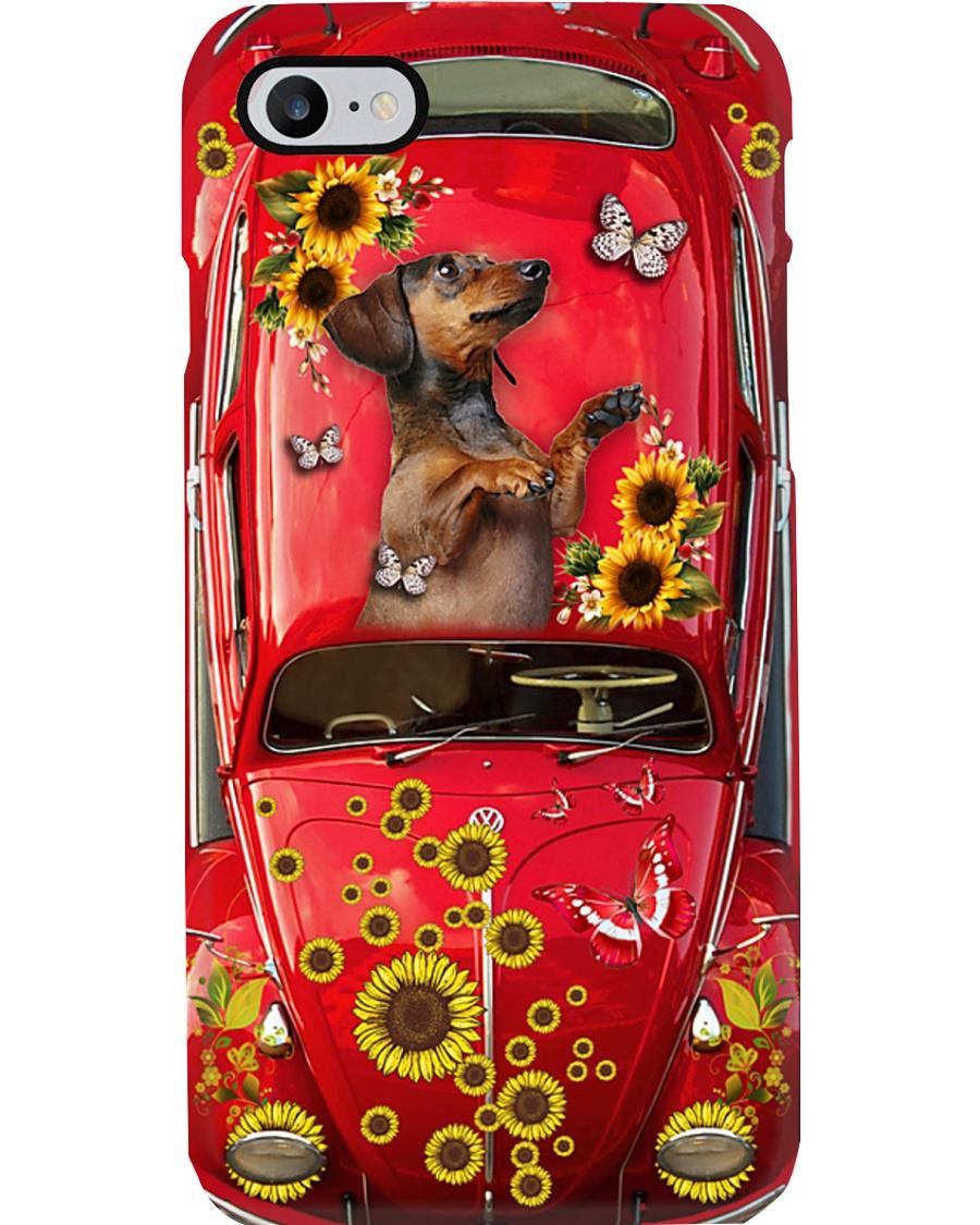 Phone Case - Dachshund Sunflower - Red Phone Case