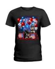 Miniature Schnauzer  Independence Vr2 Ladies T-Shirt thumbnail