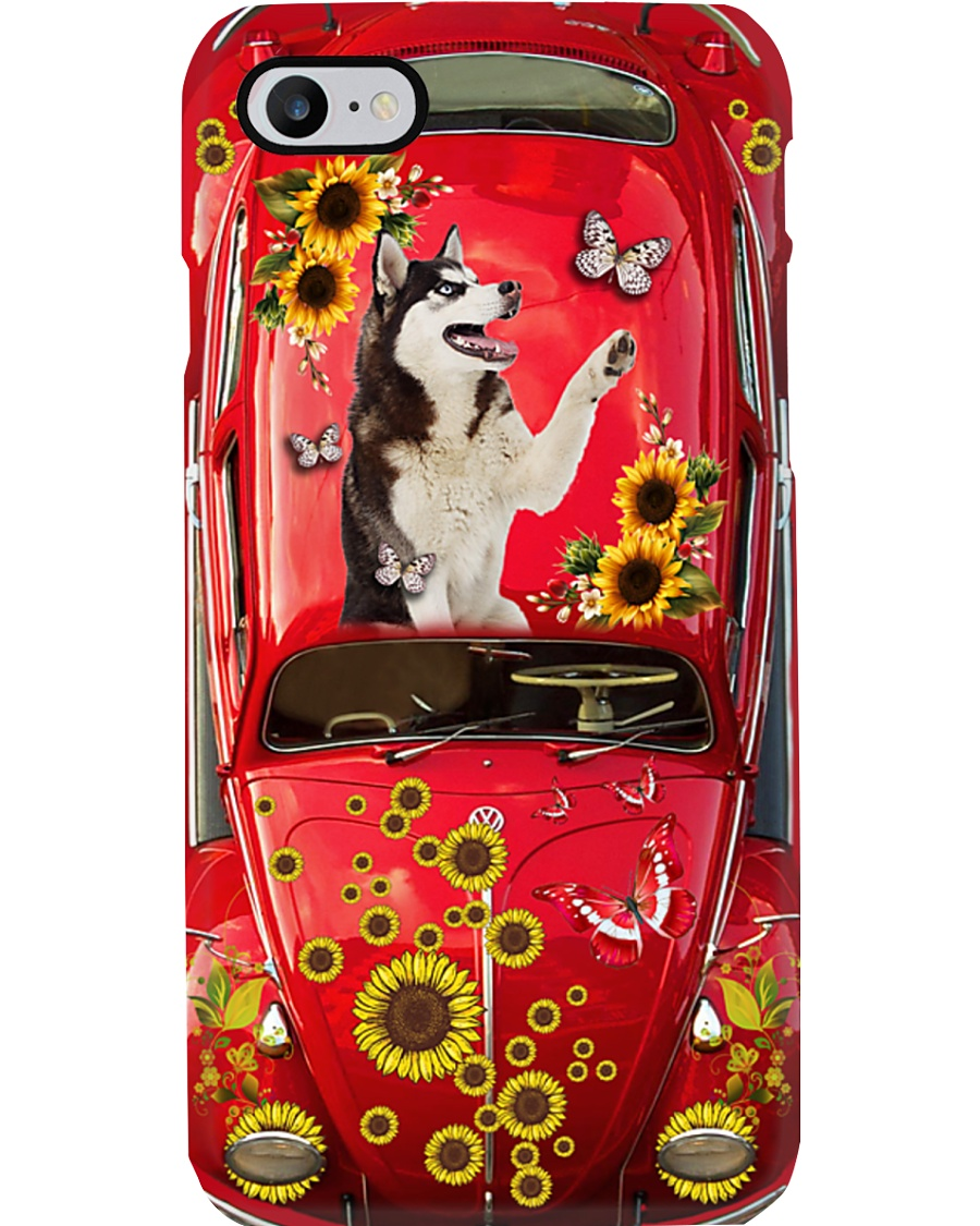 Phone Case - Husky Sunflower - Red Phone Case