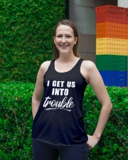 I GET US INTO TROUBLE Ladies Flowy Tank lifestyle-bellaflowy-tank-front-2