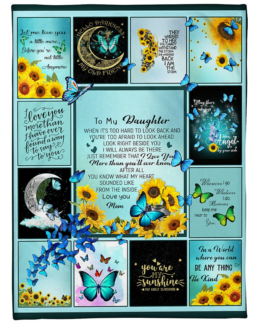 "To My Daughter Butterfly  Large Fleece Blanket - 60"" x 80"""