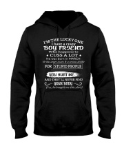 I'm The Lucky One I Have A Crazy Boy Friend Hooded Sweatshirt front