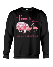 Home Is Where You Put Your Flamingos Crewneck Sweatshirt thumbnail