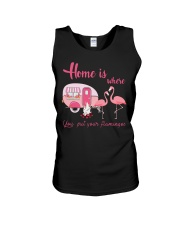 Home Is Where You Put Your Flamingos Unisex Tank thumbnail