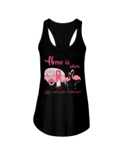 Home Is Where You Put Your Flamingos Ladies Flowy Tank thumbnail