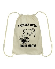 I Need A Beer Right Meow Drawstring Bag thumbnail
