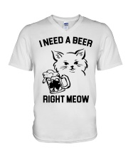 I Need A Beer Right Meow V-Neck T-Shirt thumbnail