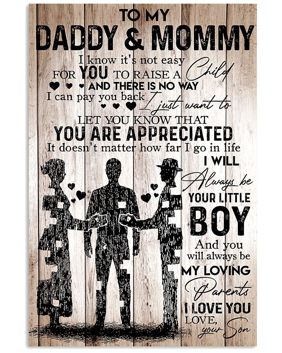 To My Daddy Mommy - I Love You - Your Son 11x17 Poster