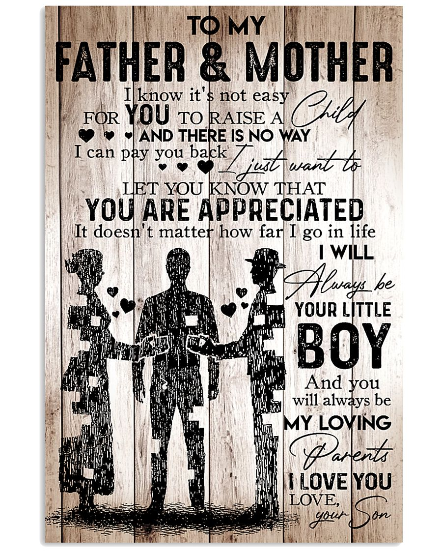 To My Father Mother - I Love You - Your Son 24x36 Poster