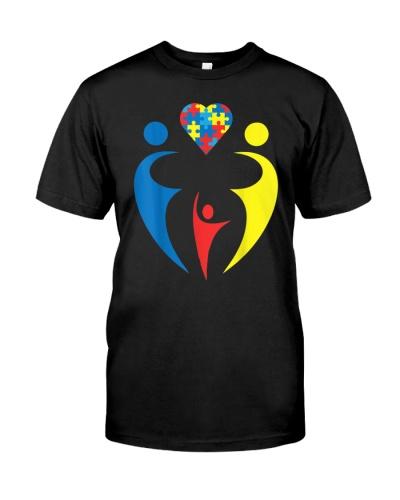 Autism Awarness Family Trio Heart