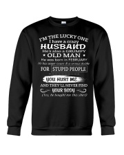 I'm The Lucky One I Have A Crazy Husband Crewneck Sweatshirt thumbnail