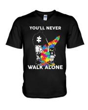 Autism Dad Daughter V-Neck T-Shirt thumbnail