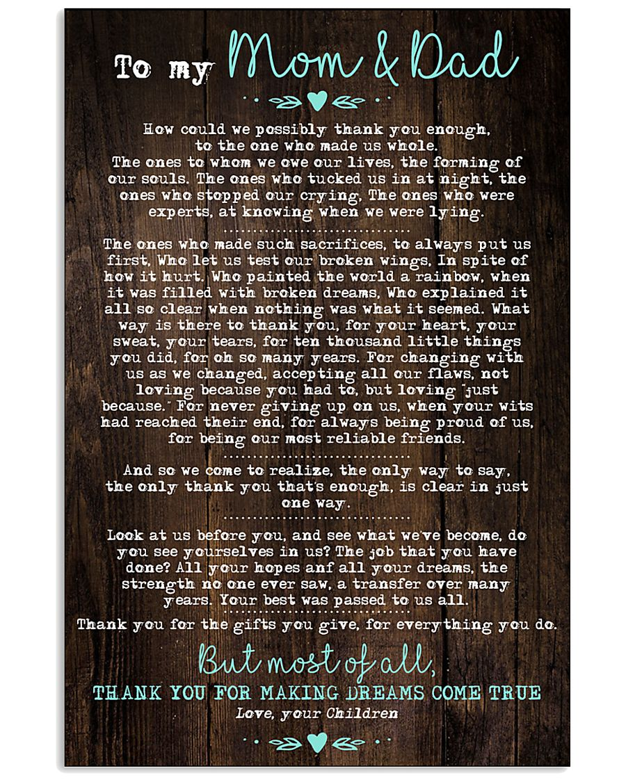 To My Mom Dad Wood 11x17 Poster