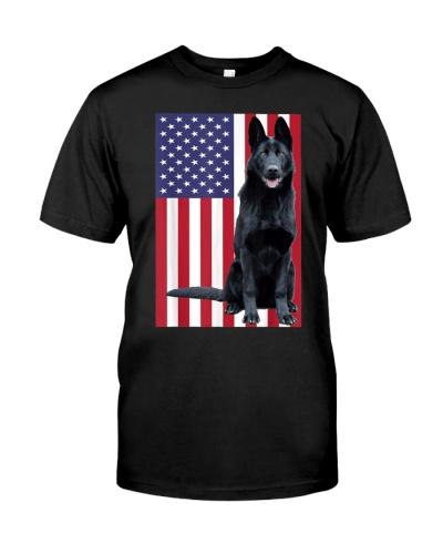 Black German Shepherd with US Flag