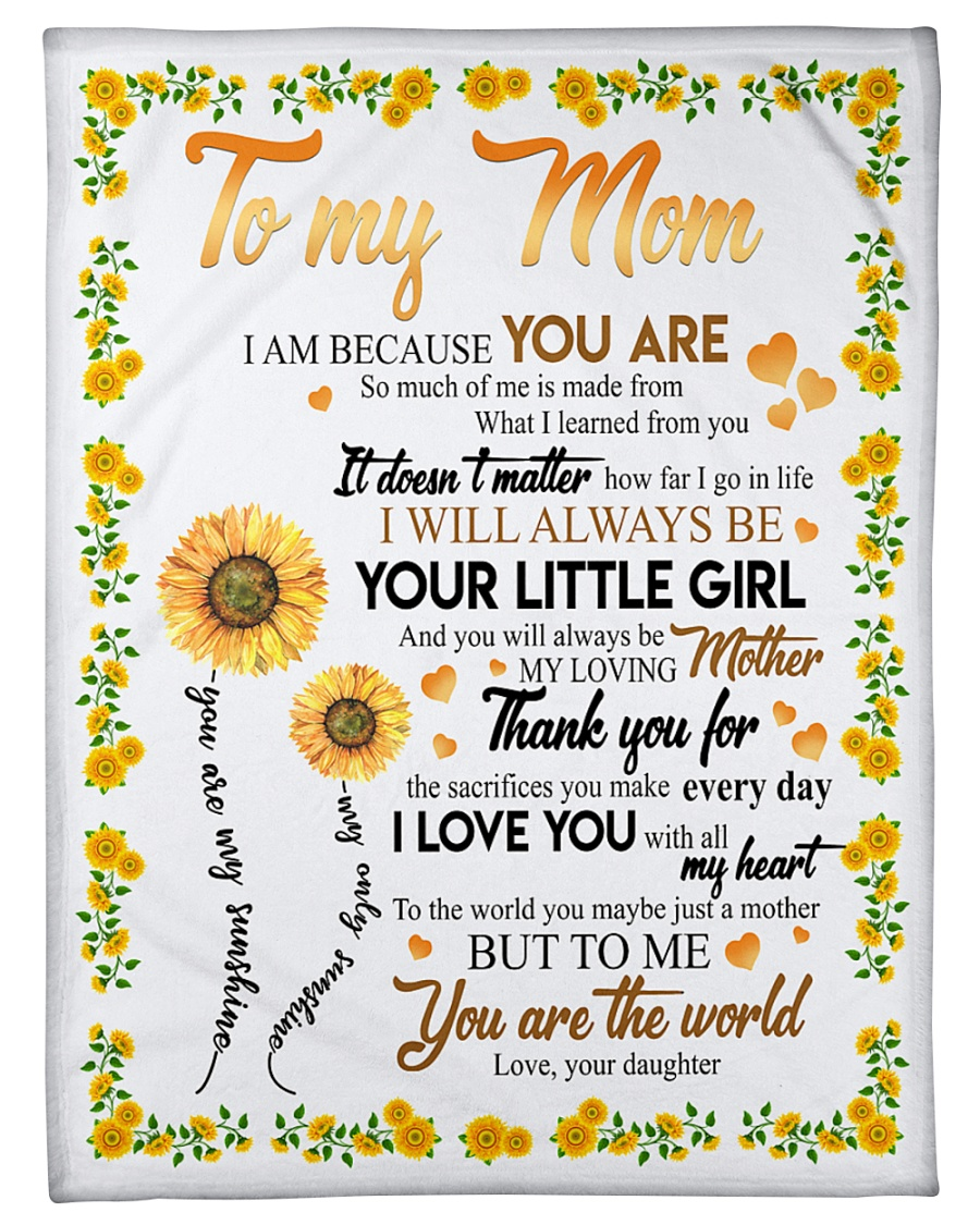 "To My Mom Sunflower Small Fleece Blanket - 30"" x 40"""