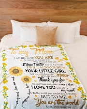 """To My Mom Sunflower Large Fleece Blanket - 60"""" x 80"""" aos-coral-fleece-blanket-60x80-lifestyle-front-02"""