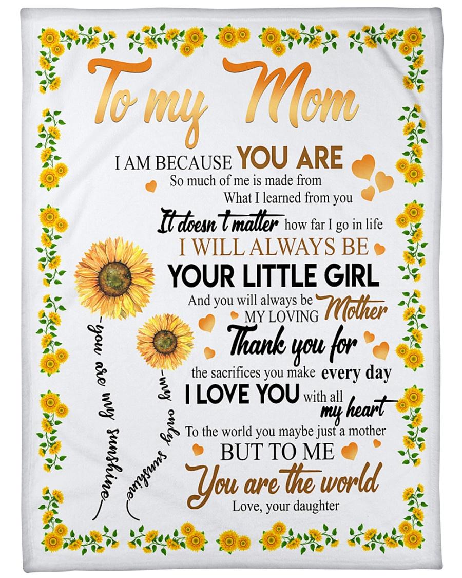 "To My Mom Sunflower Large Fleece Blanket - 60"" x 80"""