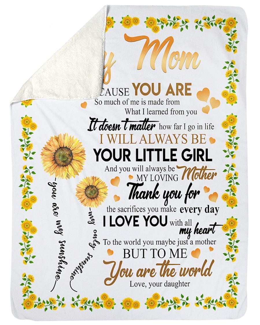 "To My Mom Sunflower Large Sherpa Fleece Blanket - 60"" x 80"""