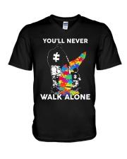 Autism Dad Son V-Neck T-Shirt thumbnail