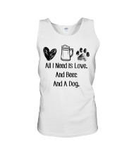 All I Need Is Love And Beer And A Dog Unisex Tank thumbnail