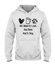 All I Need Is Love And Beer And A Dog Hooded Sweatshirt thumbnail