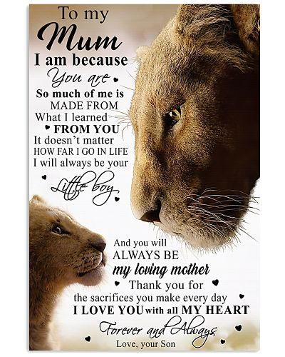 To My Mum Little Boy Son Lion Poster