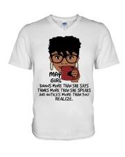 May Girl Knows More Than She Says V-Neck T-Shirt thumbnail