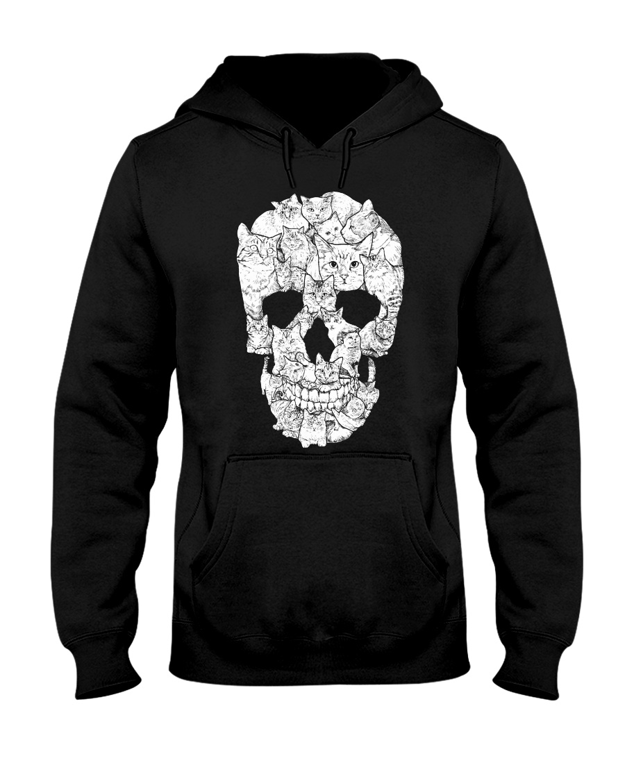 Love Cats and Skull Hooded Sweatshirt