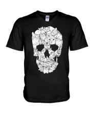 Love Cats and Skull V-Neck T-Shirt thumbnail