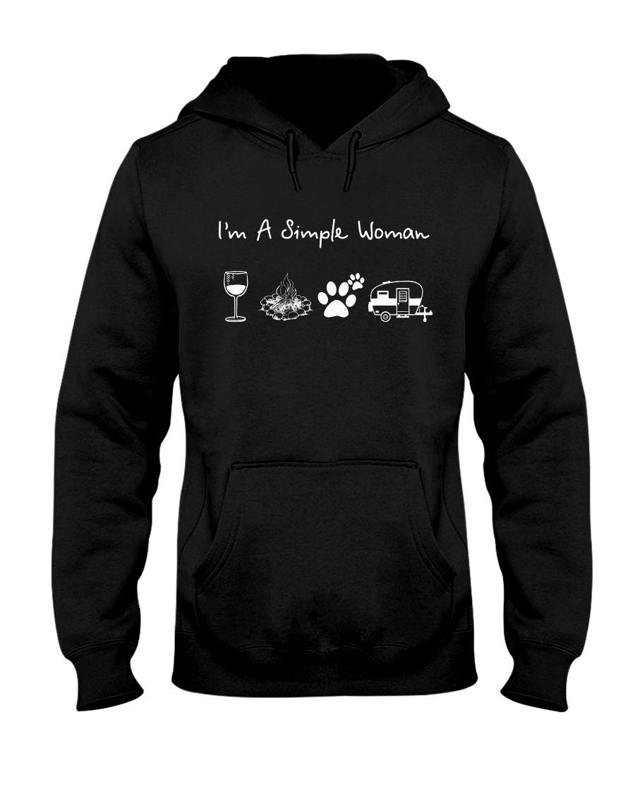 I'm A Simple Woman Wine Dogs Camping Hooded Sweatshirt