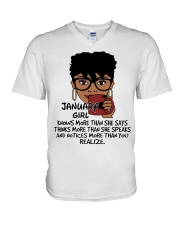January Girl Knows More Than She Says V-Neck T-Shirt tile