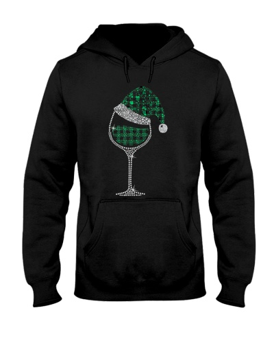 Glass of Wine Santa Hat Christmas Pajama Green