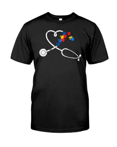 Nurse Autism Puzzle Stethoscope Heart
